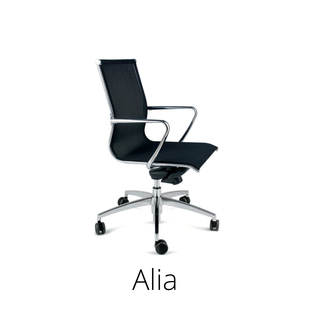 Alia, black swivel chair, standard bar. Medium or high backrest.